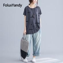 2019 Summer Cotton Tops Women Plus Size Short Sleeve Hole Oversize T-shirts Gray NQYL124