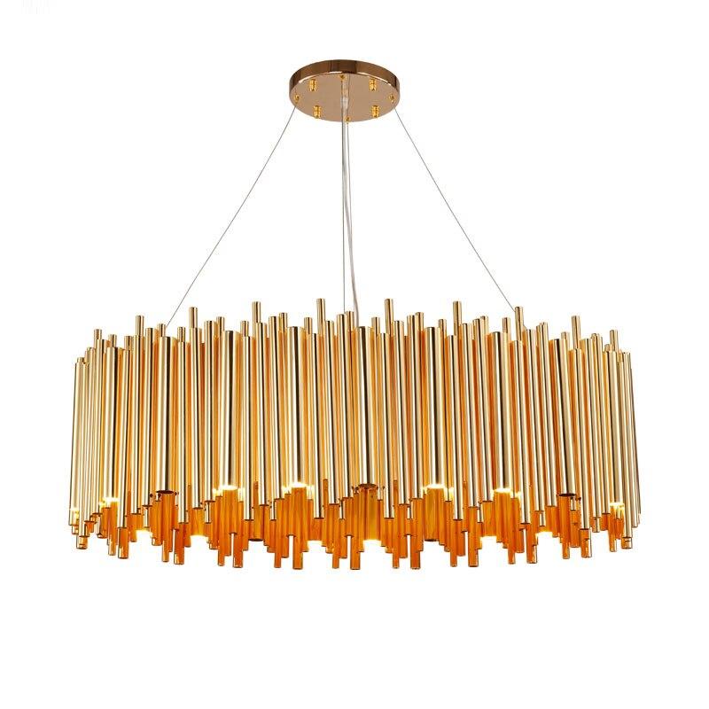 Gold Round Post Modern Dining Room LED Chandelier Lighting Metal Tube Bar Restaurant Ceiling Lamp Lights Dia 35cm-100cm