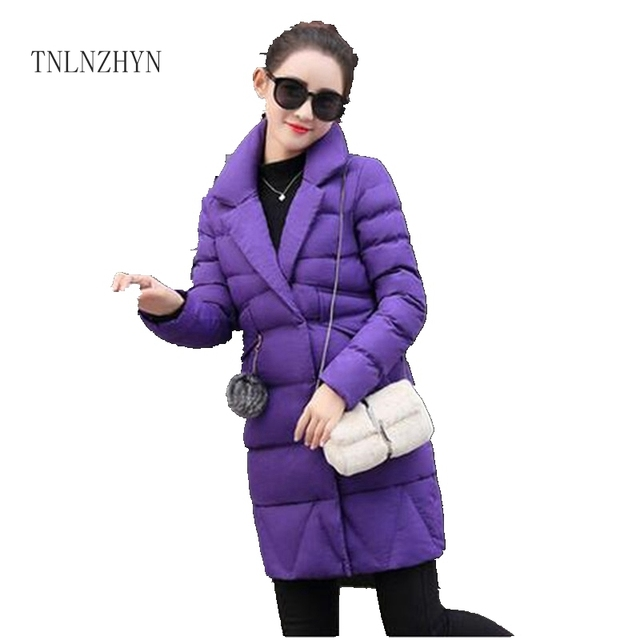 TNLNZHYN Korea 2017 Winter New Women Jacket Coat Fashion Pure color Cotton Down Jacket Keep Thicken Big yards Jacket Coat Wu06