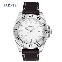 Мода 43 мм Parnis Белый Циферблат Белый Маркеры Сапфировое Стекло Автоматическая Мужчины Наручные Часы Натуральная Кожа Группа Смотреть