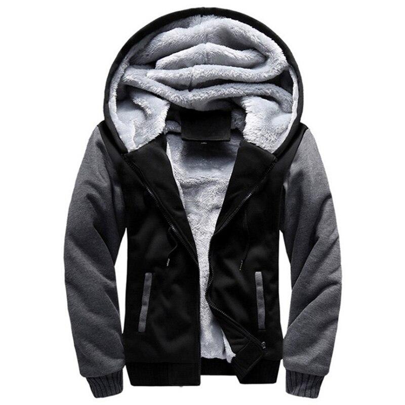 2018 Nouvelle Hommes Veste D hiver Chaud Épais Polaire Zippée Hommes Veste  Hoodies Manteau Sportwear 1a611839b6f9