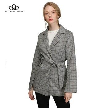 Bella 哲学秋の女性ヴィンテージジャケットロングスプリットスリーブ弓サッシ女性の格子縞のブレザージャケットのオフィスの女性 Feminino