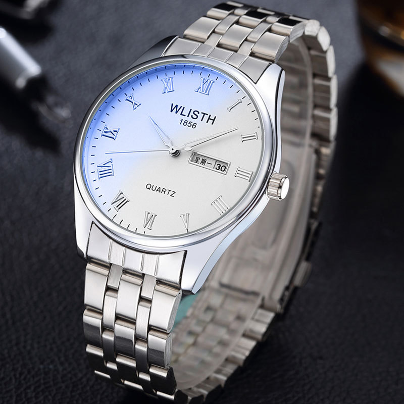 2019 Fashion Brand Classic Steel Leather Lovers Lady Men Watch Luxury Business Quartz Watch Double Calendar Waterproof For Gift