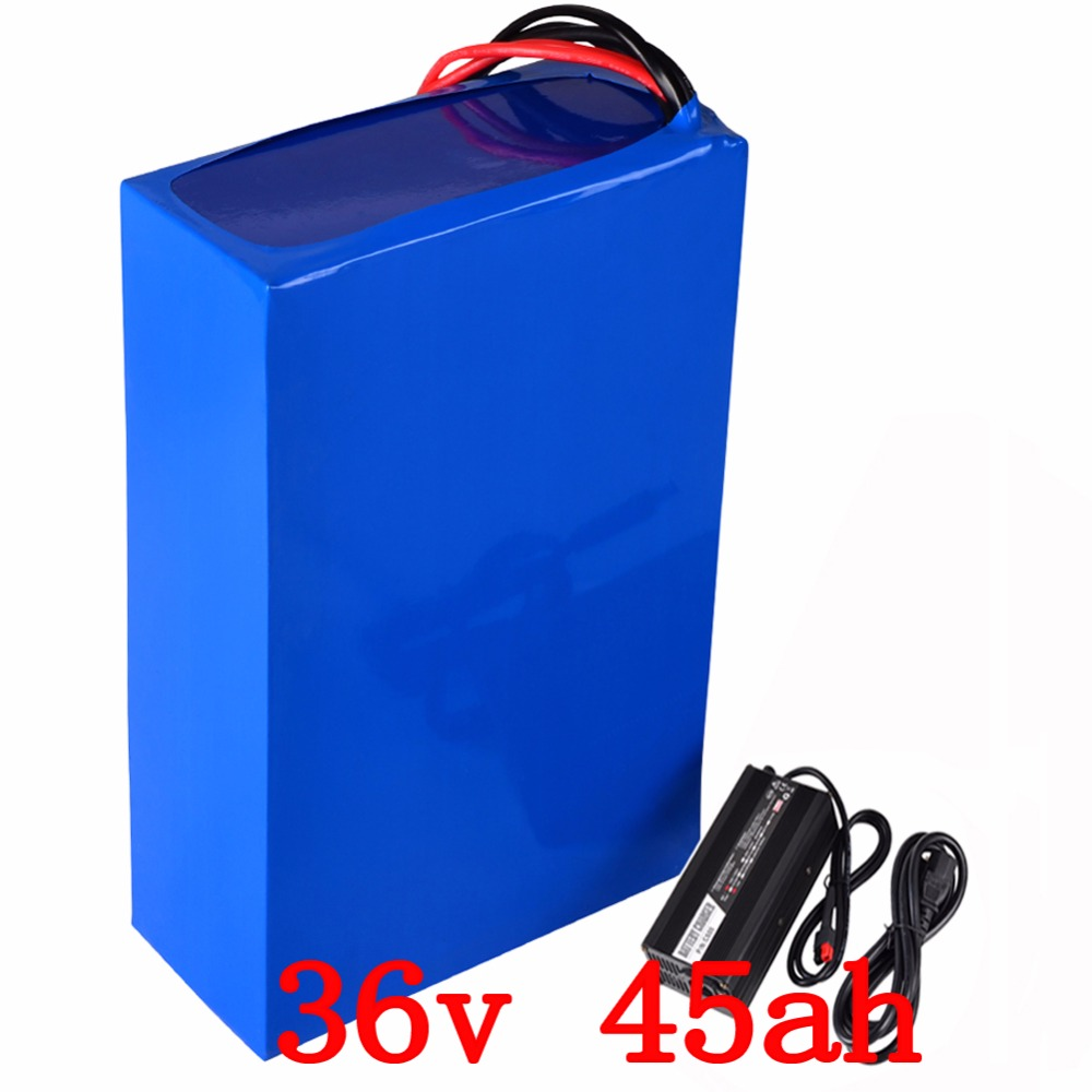 36v 1500w battery 36v 45ah electric bicycle battery 36v 45ah Lithium battery pack with 50A BMS+42V 5A charger free shipping