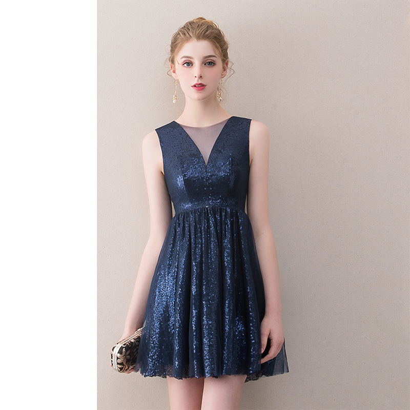 Sleeveless   Cocktail     Dresses   Plus Size V-neck Knee Length Party Gowns Royal Blue Sequins Sleeveless Zipeer Formal Prom   Dress   E403