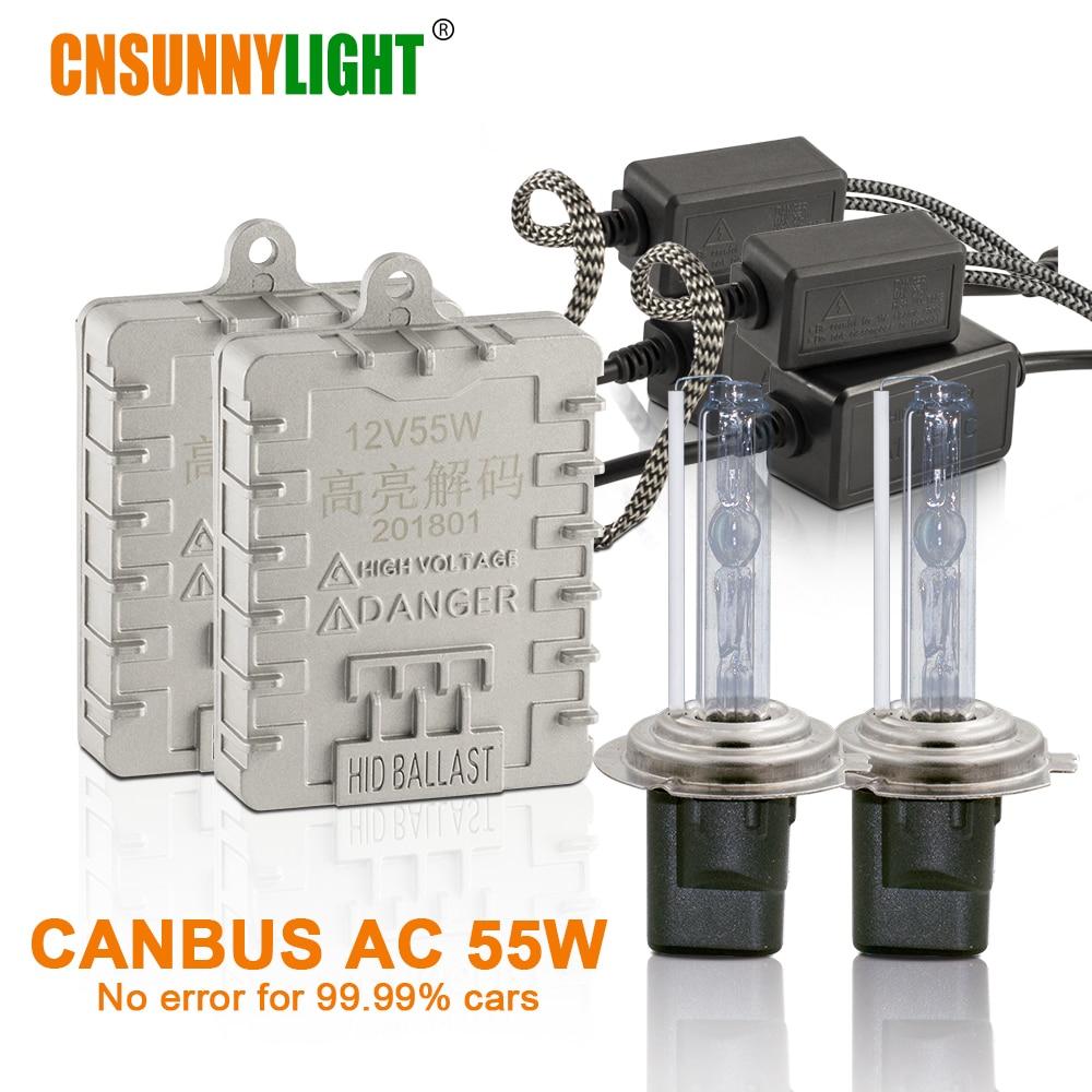CNSUNNYLIGHT Canbus 55 W Voiture Xenon HID Feux H7 H1 H11 H8 HB3 HB4 9005 9006 4300 K 6000 K Super Lumineux Aucune Erreur Auto Lampes Au Xénon