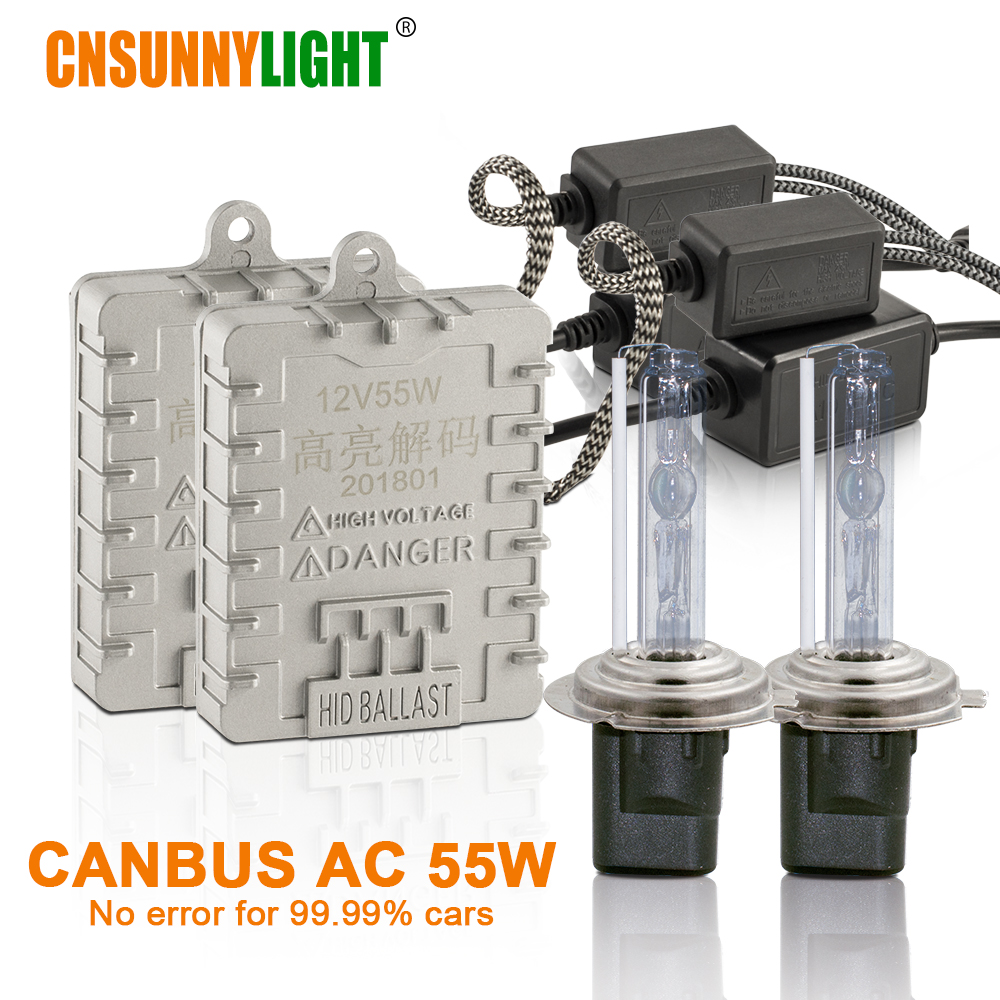 CNSUNNYLIGHT Canbus 55W Car Xenon HID Lights H7 H1 H11 H8 HB3 HB4 9005 9006 4300K 6000K Super Bright No Error Auto Xenon Lamps 1piece super bright auto xenon 4 smd h8 h11 led replacement bulbs car fog light lamps error free canbus 12v 24v