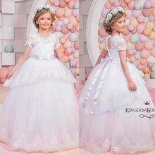 Stunning Lace Flower Girl Dresses For Weddings Kids Pageant Gowns Floor Length Tulle Appliqued Tiered Party Communion Dress FG65