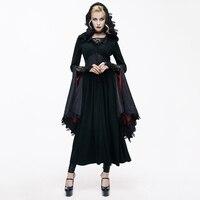Дьявол Мода Готический Sexy v образным вырезом дамы Кружево длинные пальто стимпанк осень зима темно ведьма куртка с капюшоном костюмы на Хэл