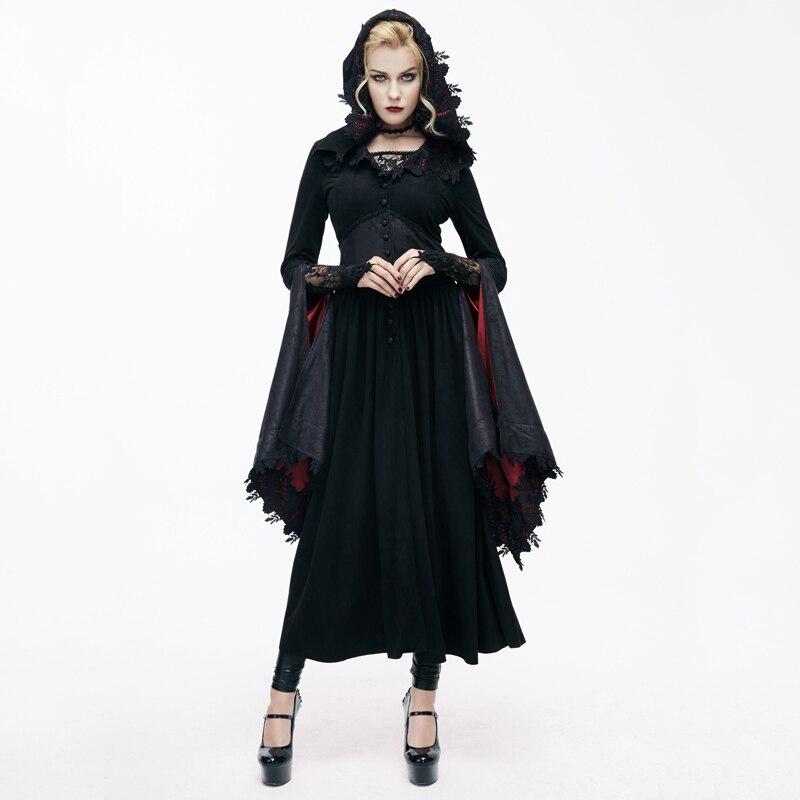 Devil/модные женские кружевные длинные пальто в стиле стимпанк, с треугольным вырезом, осенне зимняя куртка с капюшоном в стиле темной колдунь