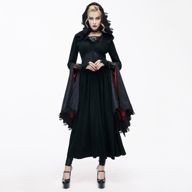 Devil Fashion Gothic Sexy V-Neck Ladies Lace Long Coats Steampunk Autumn Winter Dark Witch Hooded Jacket Halloween Costumes