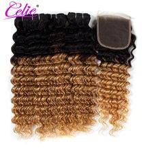Tissage en lot Deep Wave brésilien coloré-Celie | Cheveux naturels, ombré 1B 27, avec Closure
