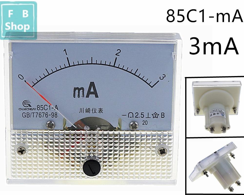 1 шт. 85C1-mA 3mA DC стрелочный Амперметр 85C1 серии аналоговая AMP метр 64*56 мм Размер
