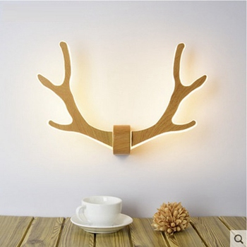 LukLoy Creative Antler LED Wall Lights Kids Modern Simple LED Wall Lamps Wooden Bedroom Aisle Stair Lighting Corridor Hall Study