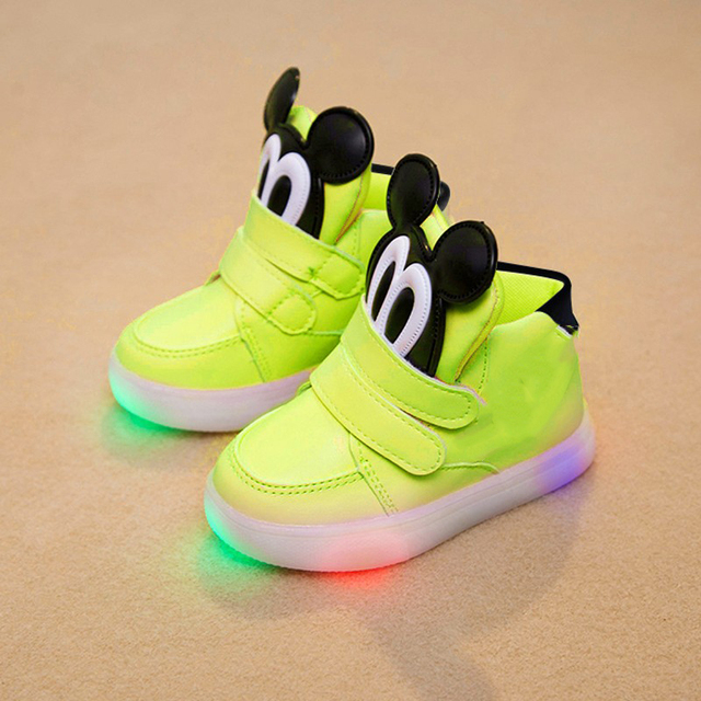 High quality LED classic girl boys sneakers glitter lighting children  casual shoes Patch Hook Loop fashion baby 34f666c64834