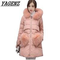 Высококачественный Подпушка хлопковые зимние Для женщин куртка с капюшоном Пальто для будущих мам натуральной меховой воротник свободно П