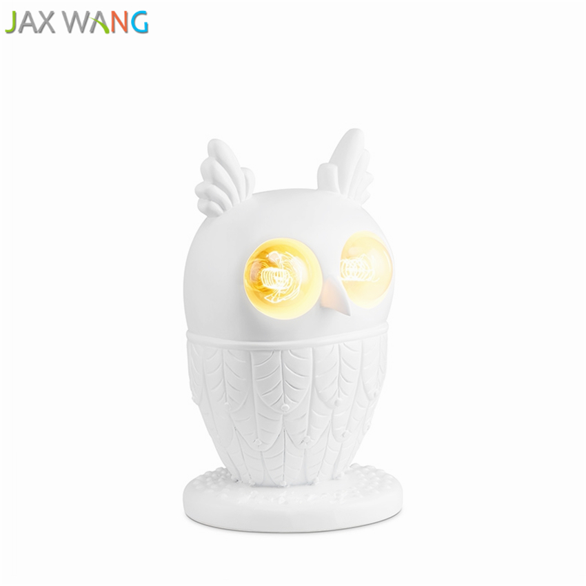 Modern simple table lamp owl resin eyes shiny personalized lovely living room bedroom model room fashion decorative lamp