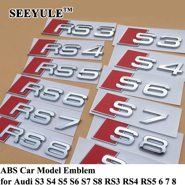 1pc SEEYULE Customized Silver Car Model Emblem Badge ABS Tail Trunk Sticker S3 S4 S5 S6 S7 S8 RS3 RS4 RS5 RS6 RS7 RS8 for Audi