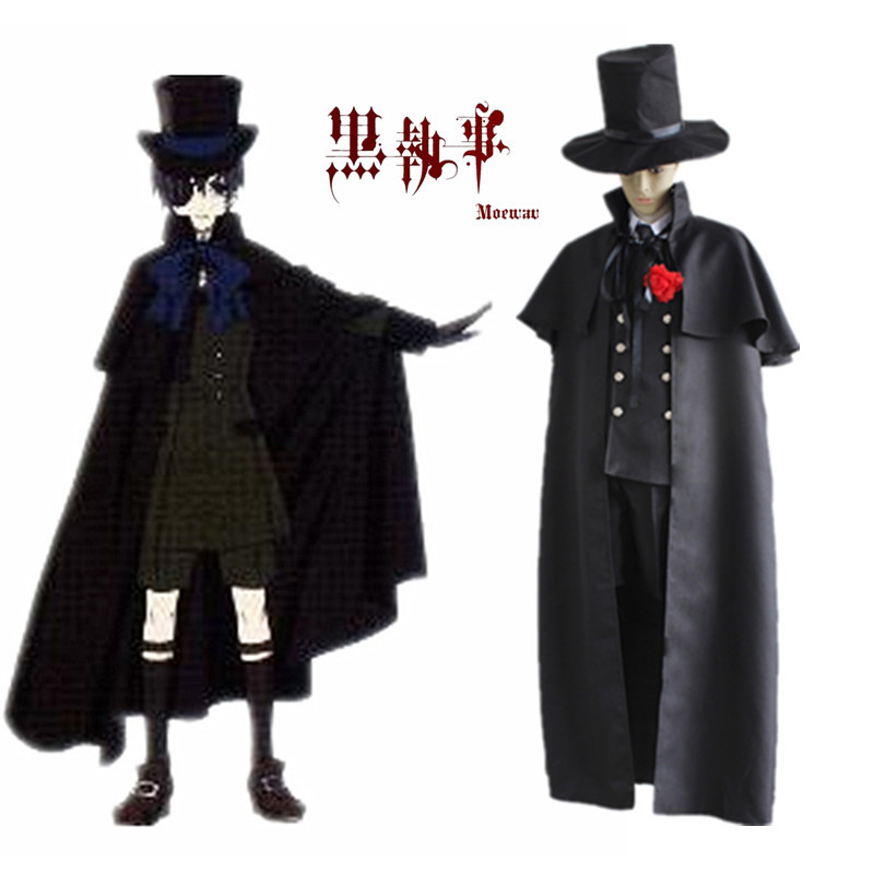 Anime Black Butler Kuroshitsuji Ciel Phantomhive Uniform Cosplay Costume Full Set Black Funeral Gown Party Cosplay