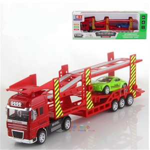 big auto double carrier contains Flat transport truck with 1 alloy small car model for children toy Christmas gift