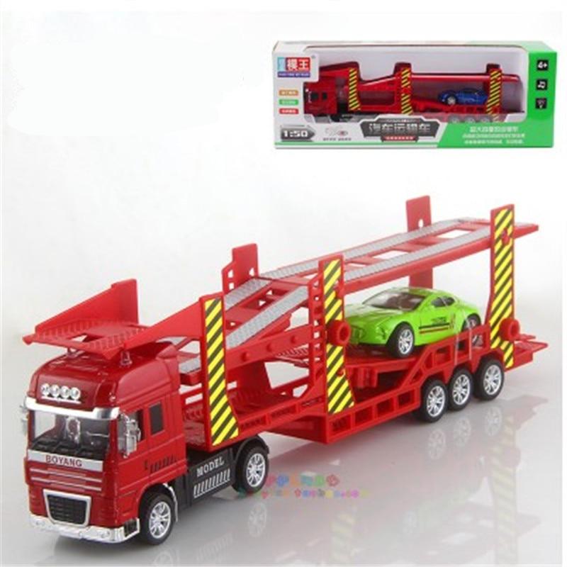 Liels auto dubultā nesējs satur plakanā transporta automašīna ar 1 sakausējuma maza auto modeli bērnu rotaļlietu Ziemassvētku dāvanai