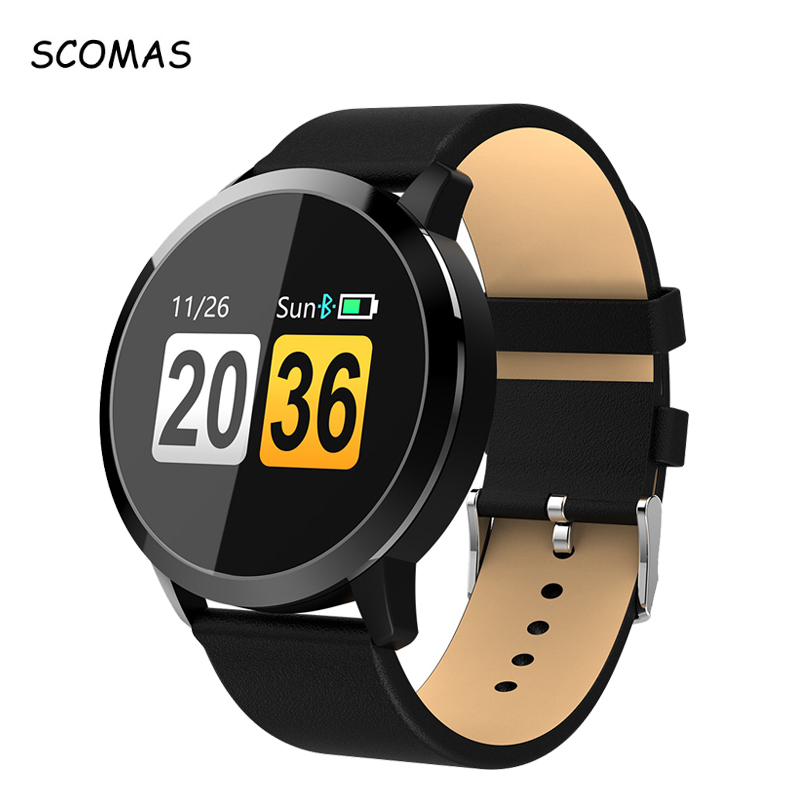 SCOMAS Q8 0,95 pulgadas OLED pantalla táctil presión arterial Monitor de frecuencia cardíaca beber recordatorio reloj inteligente reloj de la aptitud