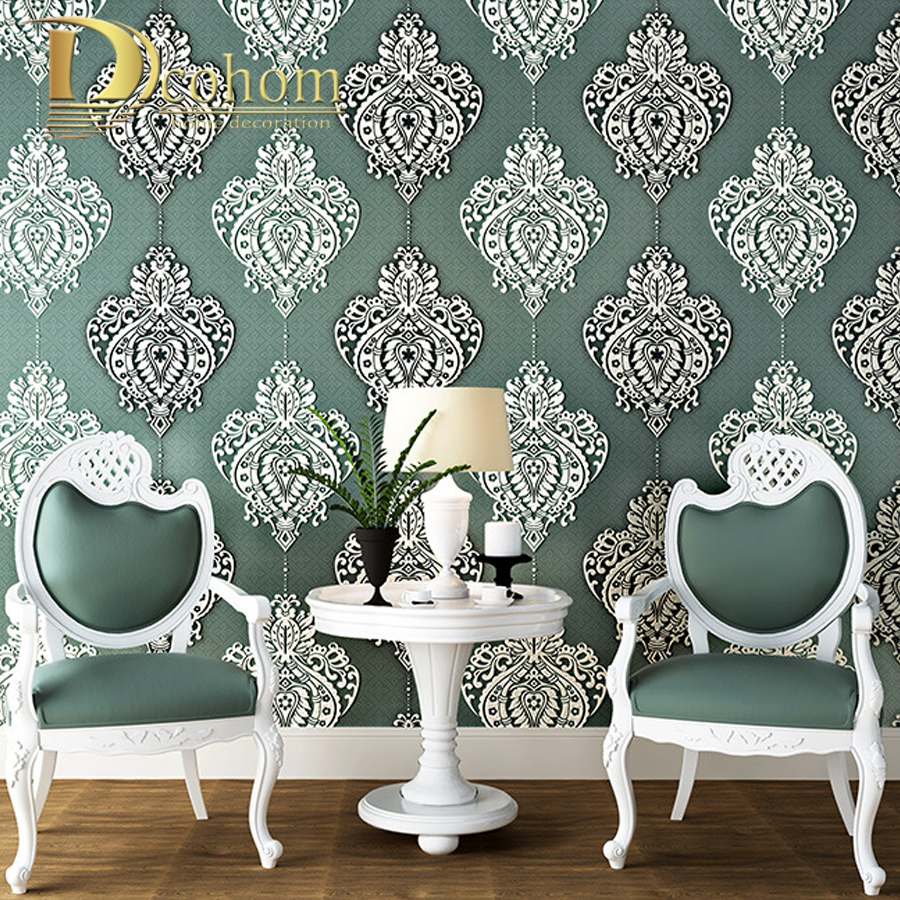 Modern Damasks 3D Embossed Wallpaper Bedroom TV Background Wall Coverings Grey  Purple Wall Paper Rolls In Wallpapers From Home Improvement On  Aliexpress.com ...