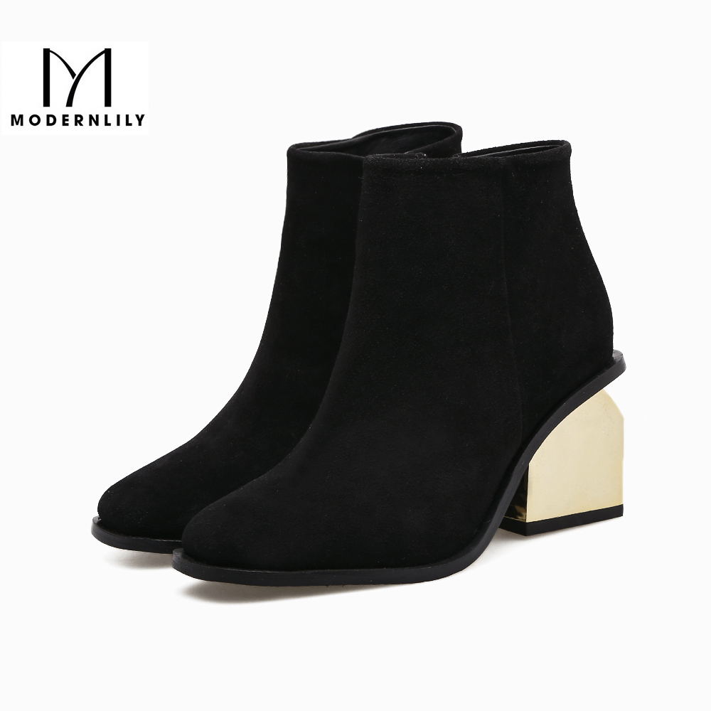 Ankle Boots For Women Black Flock Strange Style Gold High Heel 2017 Winter Brand  Women Shoes Boots Botas Mujer Free Shipping newborn baby girls jumpsuit rompers boys clothes romper for infant baby girls pajamas spring autumn long sleeve cotton costumes
