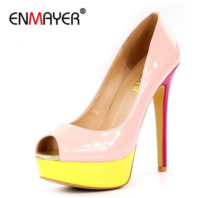 ENMAYER Peep Toe Round Toe Platform Extreme High Heels Slip-On Round Toe Plus Size 35-46 Stiletto Basic Sexy Summer Women Shoes
