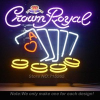 Crown Royal Poker Chips Neon Light Sign Real Glass Tube Handcraft Neon Bulbs Beer Pub Recreation