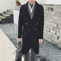 2016 Men's Winter Warm Wool Coat Men Fashion Long Design Double breasted Runway Style Black Temperament Wool Jacket Outerwear