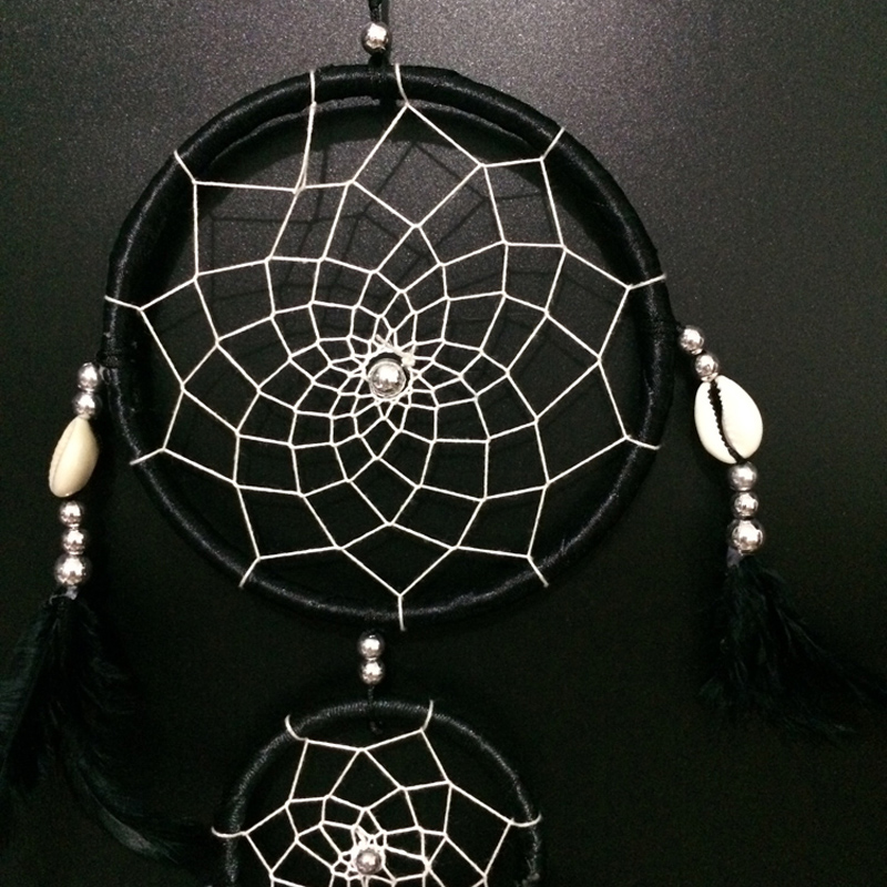 FC40 Double Rings Black Cherokee Indian Dream Catchers Feather Unique Cherokee Indian Dream Catcher