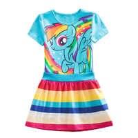 Meu Bebê Princesa Crianças Vestidos de Algodão Listrado Dos Desenhos Animados Little Pony Unicórnio Verão Para Meninas Infantil para Crianças Vestidos de Roupas