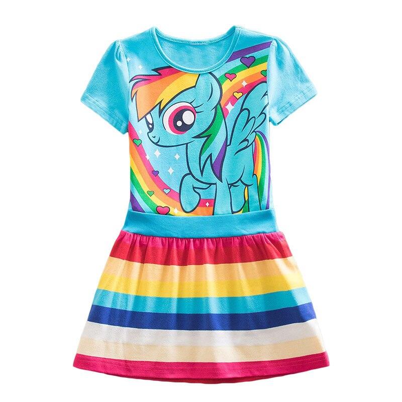 Meu bebê princesa crianças unicórnio algodão listrado dos desenhos animados little pony vestidos de verão para meninas infantil crianças vestidos roupas