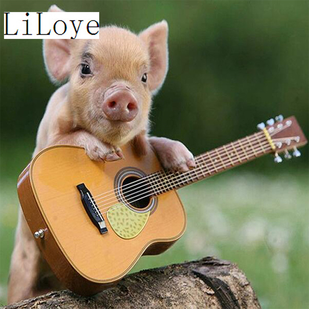 LI LOYE Diamond Painting Cross Stitch Diy Diamond Embroidery Play guitar pig Full Round Diamond Mosaic Pasted Needlework QW686