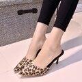2017 летние женщины сексуальный леопарда острым носом краткие высокие каблуки случайные сандалии обувь женщина туфли на шпильках туфли на каблуках 8 см