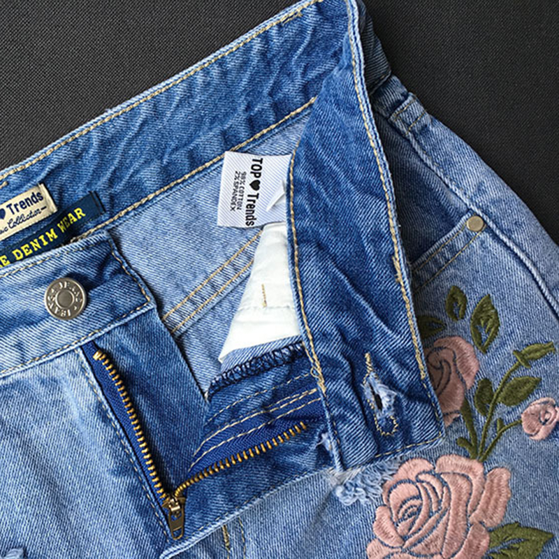 Fashion Women Short Jeans Embroidered Three dimensional Flower High Waist Slim Denim Female Shorts Garden Style Large Size in Jeans from Women 39 s Clothing