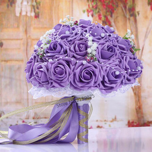 Image 3 - Fashion Cheap Burgundy Wedding Bouquet Pink/Red/White/Burgundy Bridal Bridesmaid Flower Artificial Flower Rose Bouquet Bride