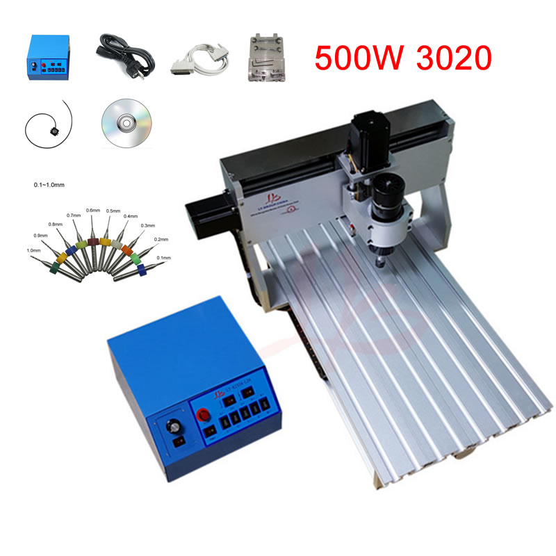 DIY <font><b>3020</b></font> <font><b>cnc</b></font> <font><b>router</b></font> 500W engraving machine 3axis with Mach3 software controller Nema 23 stepper motor and full tool kit image