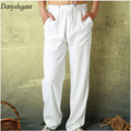 2017 spring and summer male casual linen pants solid color loose thin breathable white fluid long trousers plus size M-2XL