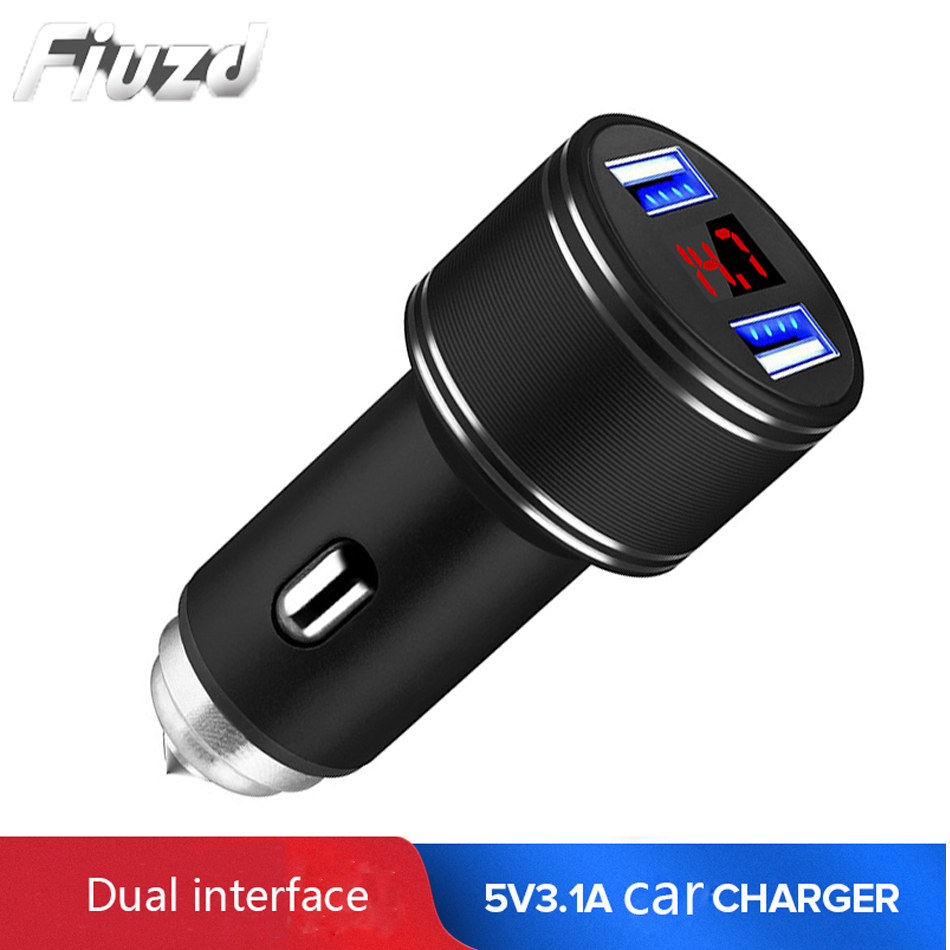 Fiuzd Dual USB Car Charger Adapter 3.1A Digital LED VoltageCurrent Display Auto Vehicle Metal Charger For Samsung s10 s9 s8 7 phone charger for huawei p20 p10 pro lite 1