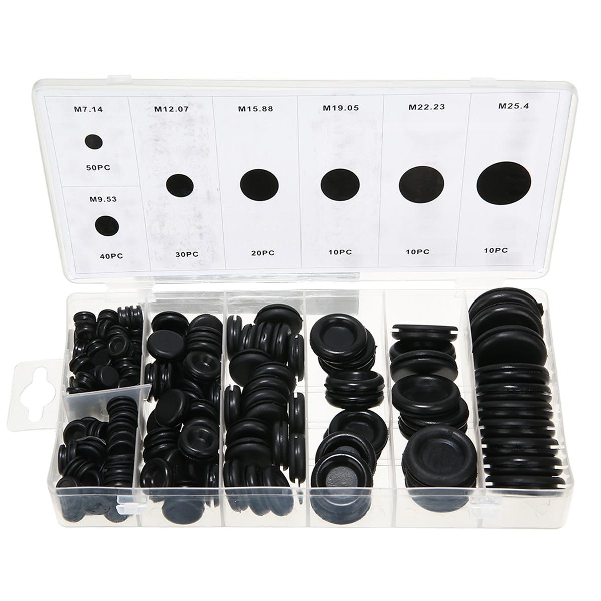 170pcs/box Rubber Grommet Hole Plug Set Car Electrical Wire Cable Gasket Kit Black Round Fastener Grommets Decoration