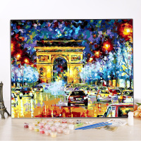 Y65 Arc De Triomphe DIY Oil Painting By Numbers With Paint Brush Creative Number Oil Painting