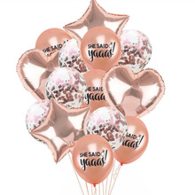AVEBIEN12 inch Rose Gold Latex Balloon She Said Yeees Wedding Decoration DIY white Thickened Pearl American Style 10pcs