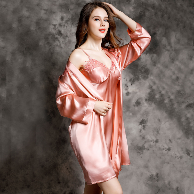 b5d62dada Sexy Lace Mulheres Camisola De Seda Robe Define Dois Peça 100% Seda  Amoreira Dormir Vestido de Roupão de Banho de Manga Longa Set Lounge P9933  em Veste ...