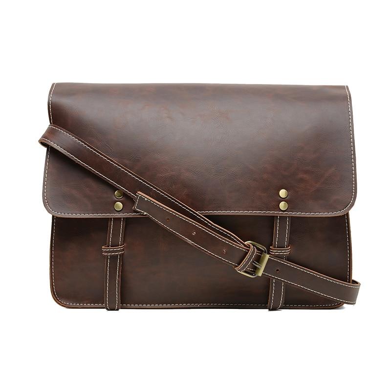 New Quality Pu Leather Men Messenger Bag Vintage Shoulder Bags Casual Business Men Cross Body Composite Bags Belt Satchel Coffee