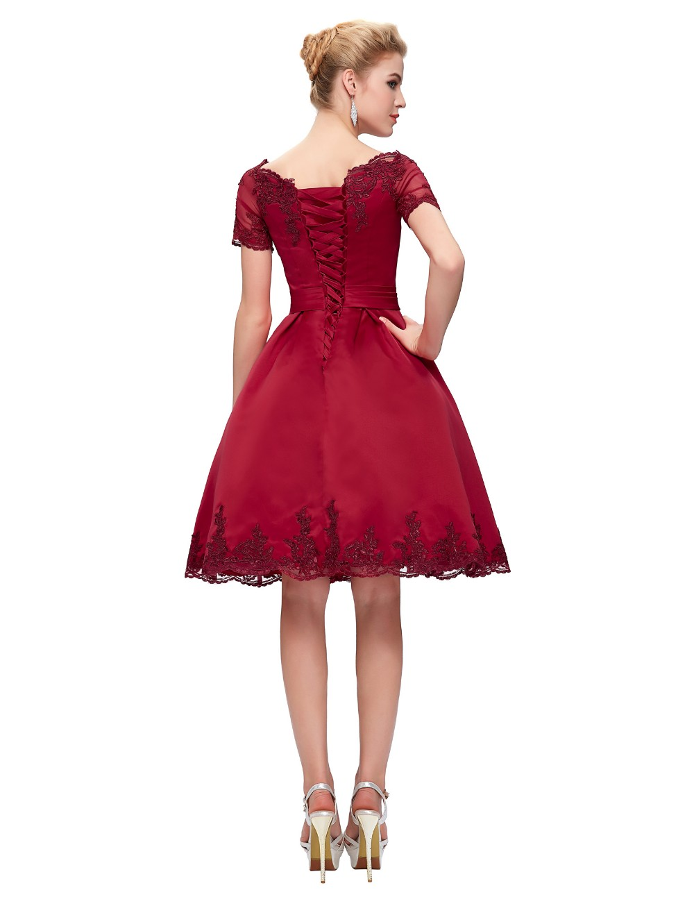 Short Cocktail Dresses 2018 Grace Karin Off The Shoulder robe de Cocktail Wedding Party Dress Satin Champagne Red Coctail Dress 6