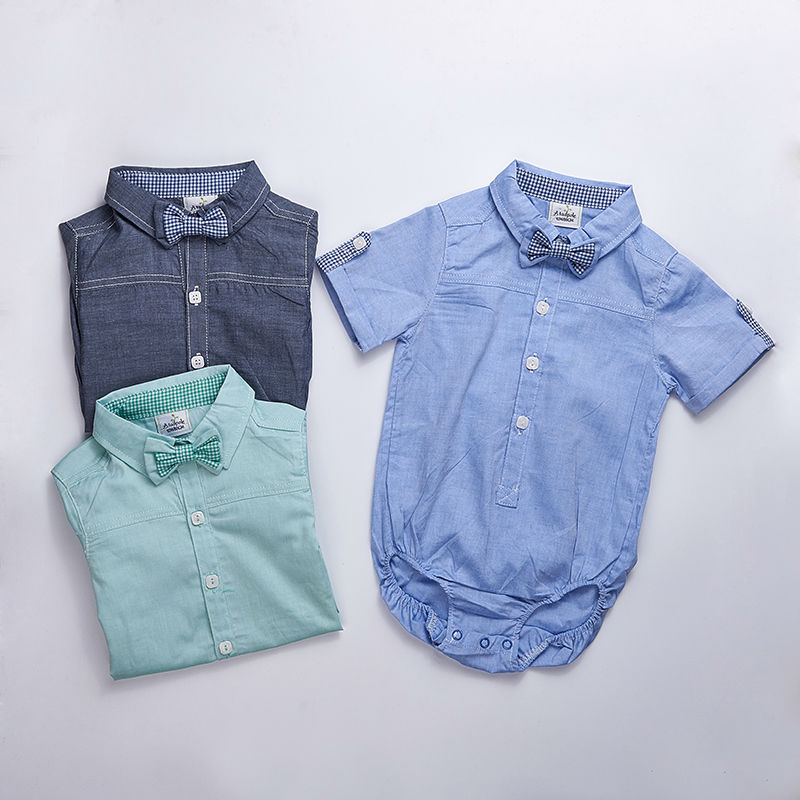 Baby clothes 2017 summer baby Kids newborn outfit baby Boy short sleeve baby formal shirt Vestidos Meninas Roupas Bebes