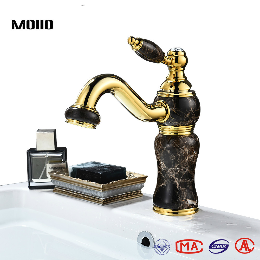 MOIIO Antique Brass Vessel Faucet Black Jade Tap Gold-plated Single handle Basin Hot and Cold Sink luxury Gold