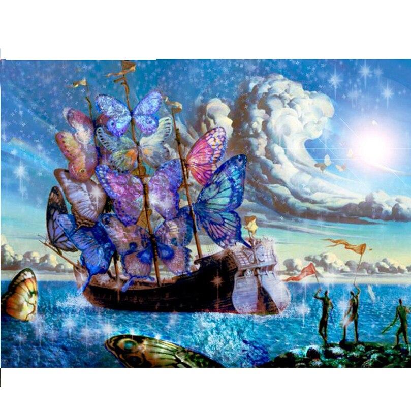 DIY 5D Diamond Mosaic Butterfly sailing boat Handmade